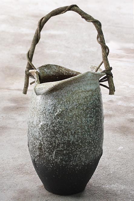 傘立て 陶器 信楽焼 白窯変壺型つる付 傘立