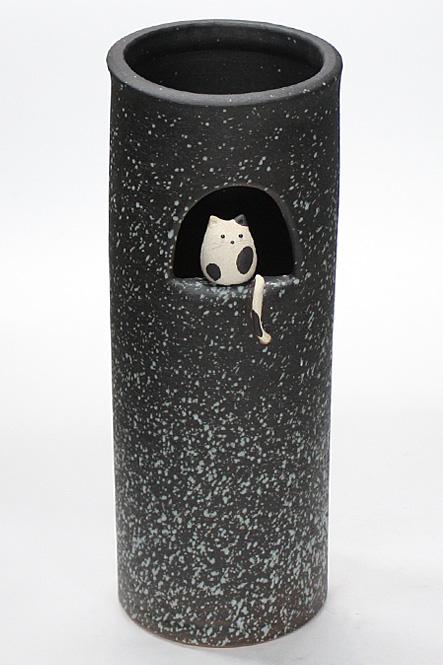 傘立て 陶器 信楽焼 黒スパタねこ 傘立 スリム かわいい