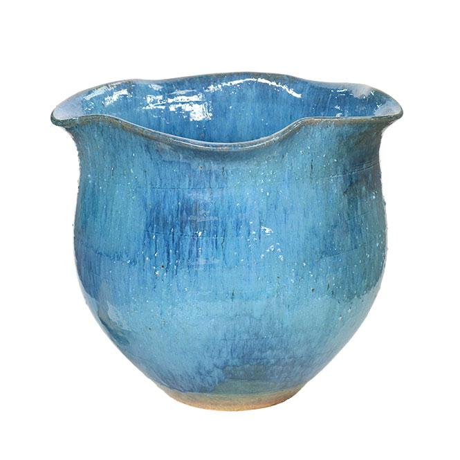 睡蓮鉢 メダカ鉢 青ガラス波口水鉢 信楽焼 めだか鉢 水鉢 金魚鉢 ビオトープづくりに 水蓮鉢 すいれん鉢彩り屋