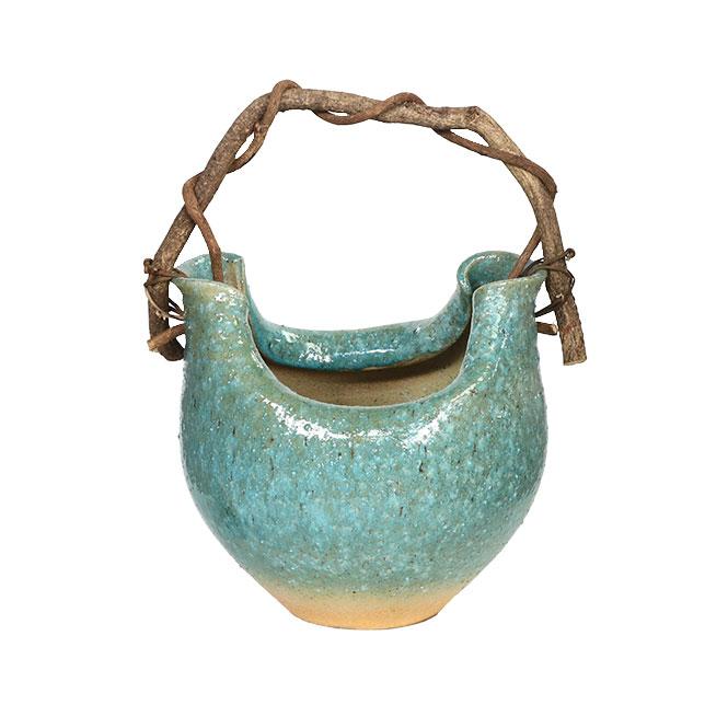 つる付緑ガラス花器 信楽焼 陶器 花入れ 花器 花入 花瓶 彩り屋