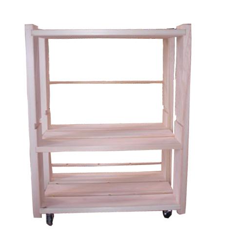 ひのき家具 収納ラック ベッドサイド棚 キャスター付き 国産 無塗装 熊野の良質ひのき家具 (無垢材) 使用 (檜)彩り屋