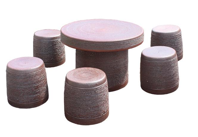 信楽焼 ガーデンテーブル 25号 鉄赤松皮テーブルセット6点 陶器 テーブル 彩り屋
