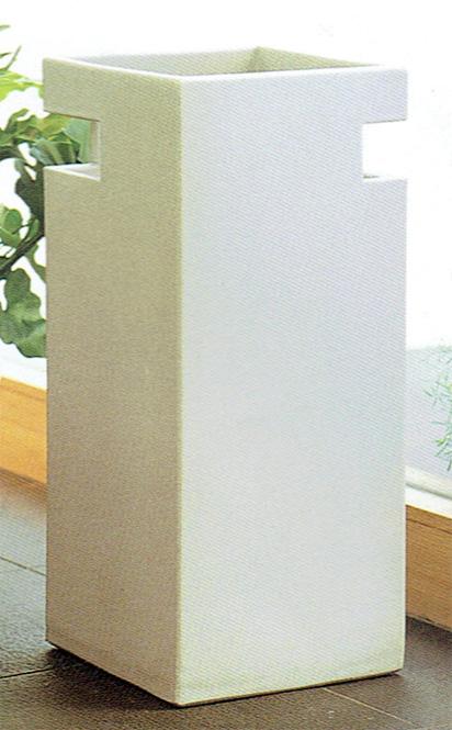 傘立て 信楽焼 カット・ホワイト【チタンマット釉】 傘立 陶器 彩り屋_