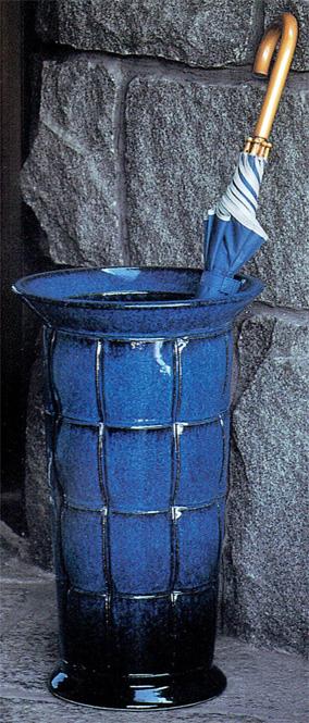 傘立て 陶器 信楽焼 格子 (海鼠釉)