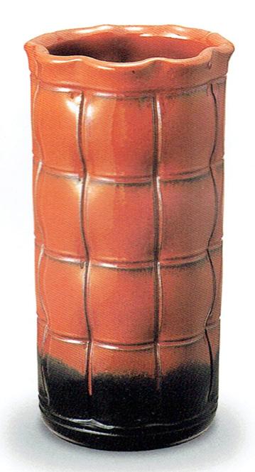 傘立て 陶器 信楽焼 格子 (鉄赤釉)