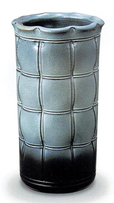 傘立て 陶器 信楽焼 格子 (天目かすみ釉)