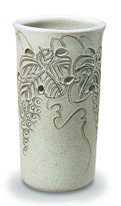 傘立て 陶器 信楽焼 ぶどう透し彫 (かすみ釉)