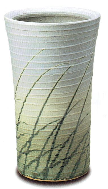 傘立て 陶器 信楽焼 ロクロ目なびき草 (チタンマット釉)