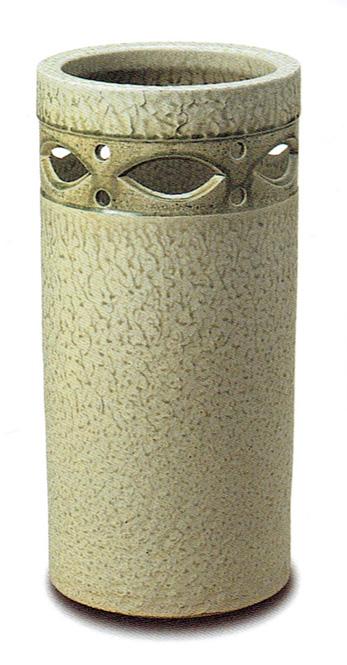 傘立て 陶器 信楽焼 筒型透し彫 (白色窯変釉) スリム
