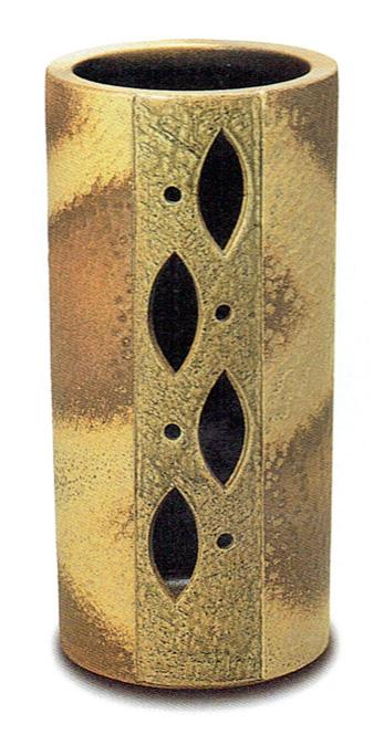傘立て 陶器 信楽焼 筒型透し彫 (自然灰釉)