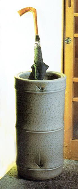 傘立て 陶器 信楽焼 竹筒 (白色窯変釉)