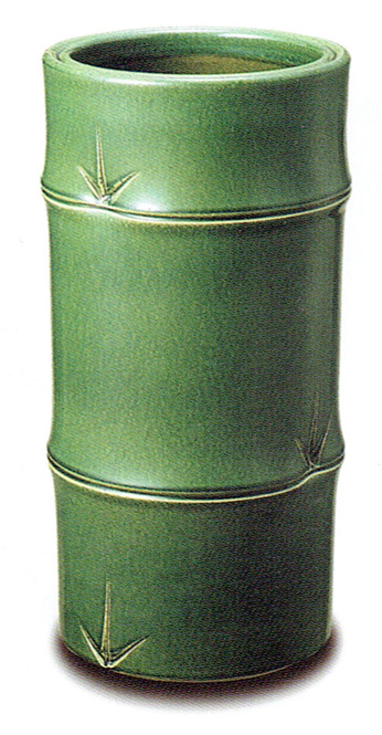 傘立て 陶器 信楽焼 竹筒 (織部釉)