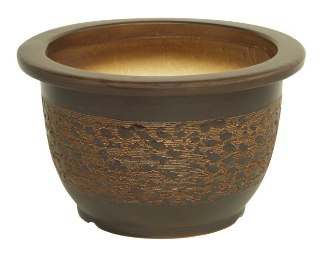 窯肌輪型 20号信楽焼 植木鉢 ガーデニング 陶器鉢 園芸 山野草鉢 彩り屋_
