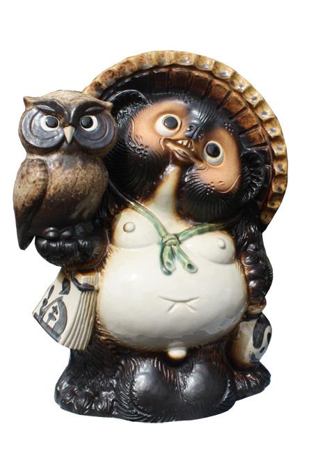 ふくろう付狸 8号 信楽焼 たぬき 陶器 狸 置物 タヌキ彩り屋