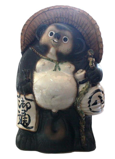 福ひねり狸 25号 信楽焼 たぬき 陶器 狸 置物 タヌキ