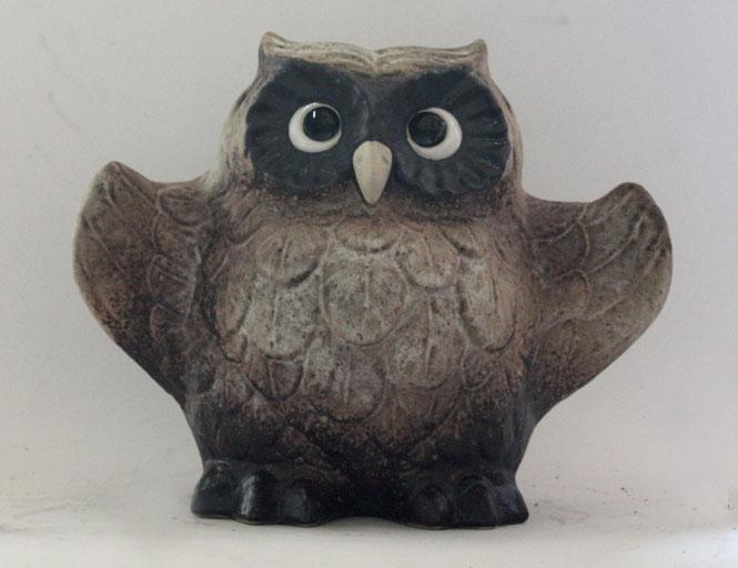 羽ばたきふくろう (粉引風) 10号信楽焼 陶器 置物 梟 フクロウ 縁起物 ギフト彩り屋