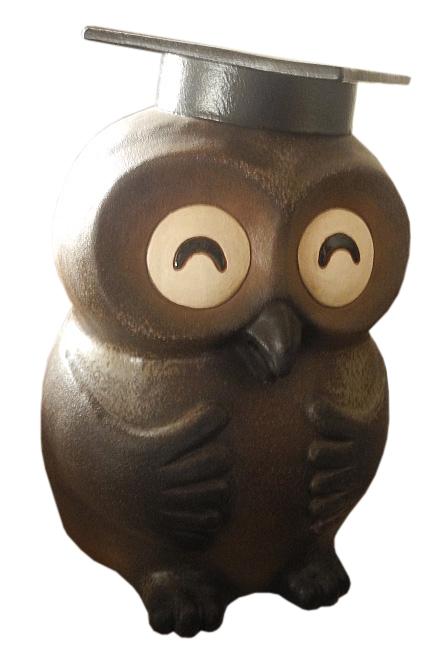 知恵ふくろう (細目) 17号信楽焼 陶器 置物 梟 フクロウ 縁起物 ギフト彩り屋