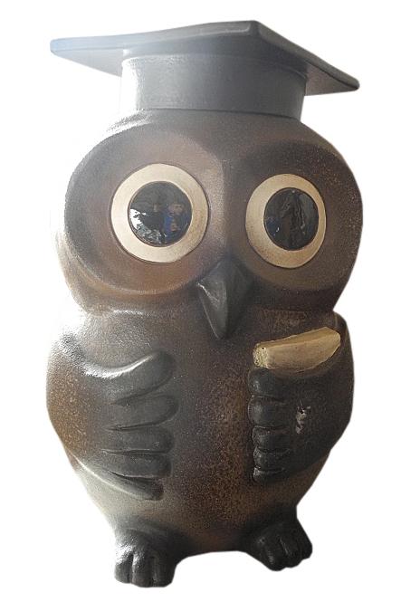 知恵ふくろう (丸目) 17号信楽焼 陶器 置物 梟 フクロウ 縁起物 ギフト彩り屋