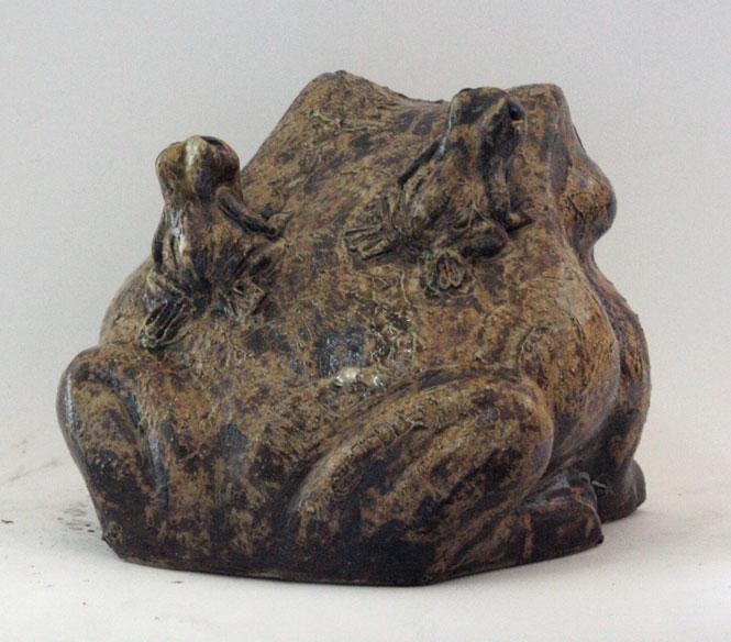 蛙 (子2匹) 30号信楽焼 陶器 置物 かえる彩り屋