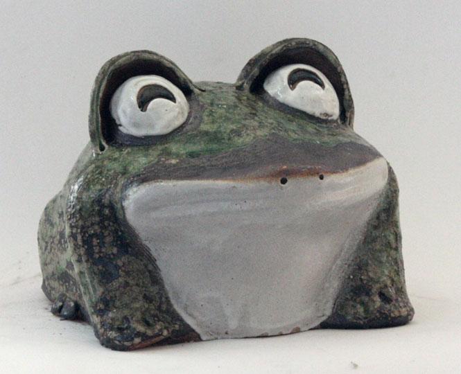 出目蛙 10号笑い信楽焼 陶器 置物 かえる彩り屋