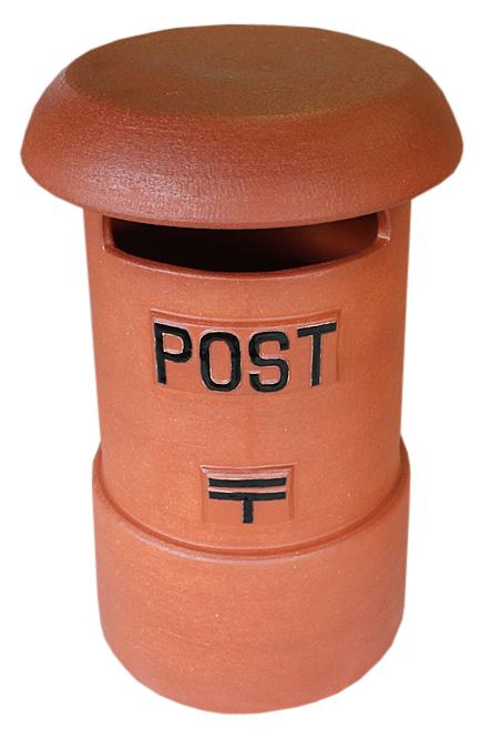 陶製レトロポスト (火色) 19号 信楽焼ポスト 陶器 信楽焼彩り屋