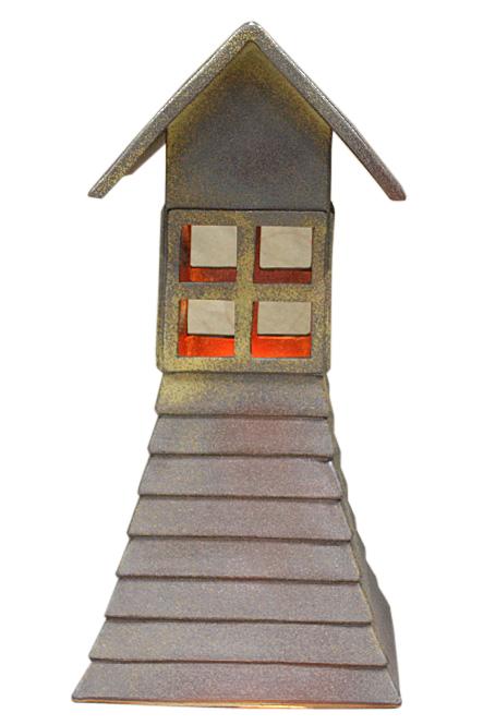 火色斑点常夜燈 (防水ライト付)信楽焼 陶器 置物 照明 灯り 屋外用彩り屋