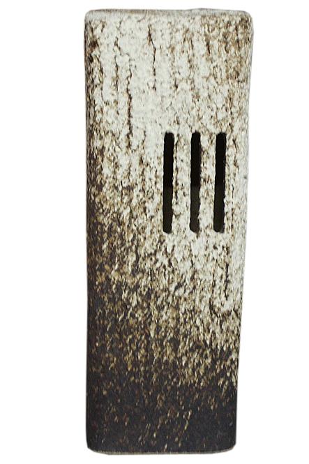 コゲ白釉角筒庭園燈 (小) (防水ライト付)信楽焼 陶器 置物 照明 灯り 屋外用彩り屋