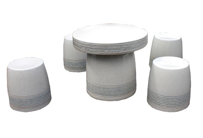 信楽焼 ガーデンテーブル 20号 白縄文テーブルセット5点 陶器 テーブル彩り屋
