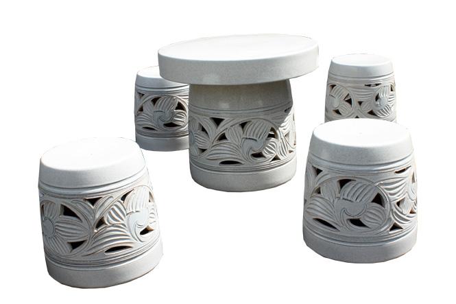 信楽焼 ガーデンテーブル 20号 カスミ唐草テーブルセット5点 陶器 テーブル 彩り屋