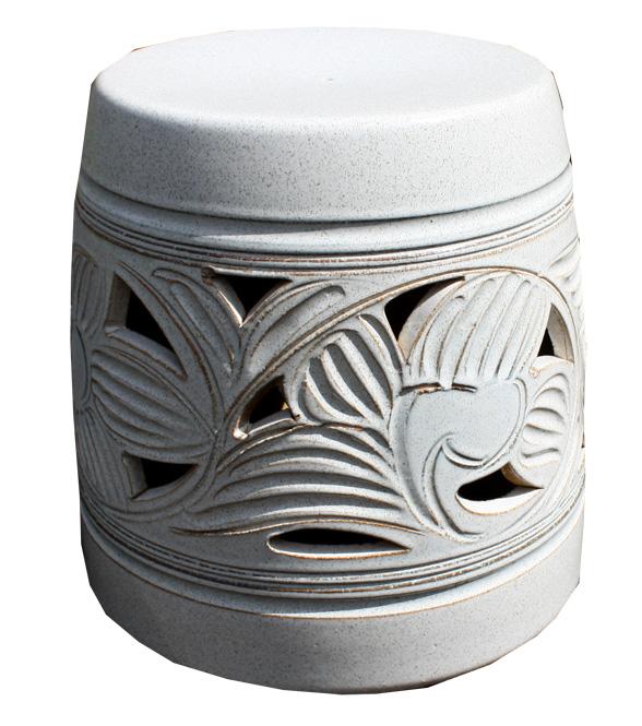 信楽焼 ガーデンテーブル スツール1点 20号 カスミ唐草テーブルセット 陶器 テーブル 彩り屋