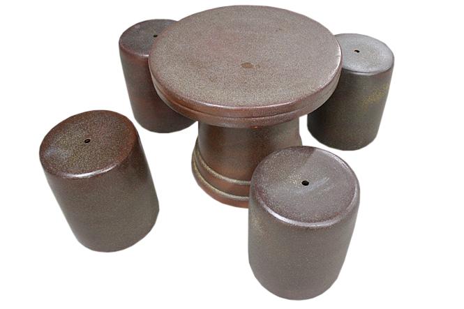 信楽焼 ガーデンテーブル 20号 火色斑点テーブルセット5点 陶器 テーブル彩り屋