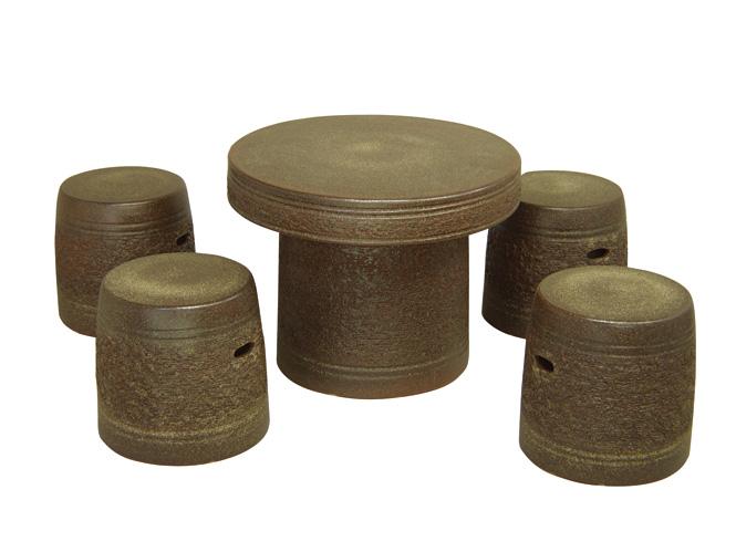 信楽焼 ガーデンテーブル 22号 窯肌松皮テーブルセット5点 陶器 テーブル彩り屋