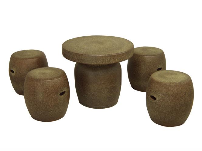 信楽焼 ガーデンテーブル 20号 窯肌テーブルセット5点 陶器 テーブル彩り屋