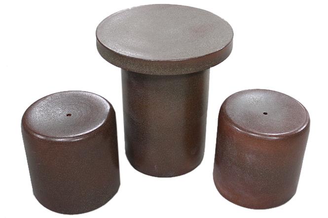 信楽焼 ガーデンテーブル 15号 火色斑点テーブルセット3点 陶器 テーブル 彩り屋