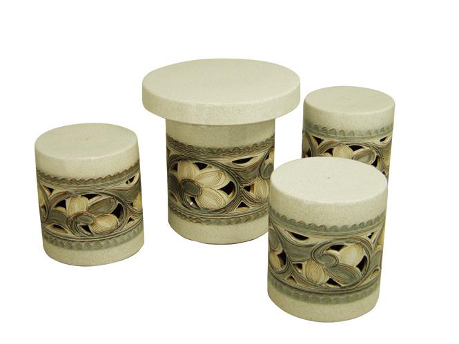 信楽焼 ガーデンテーブル 15号 カスミ唐草テーブルセット4点 陶器 テーブル彩り屋