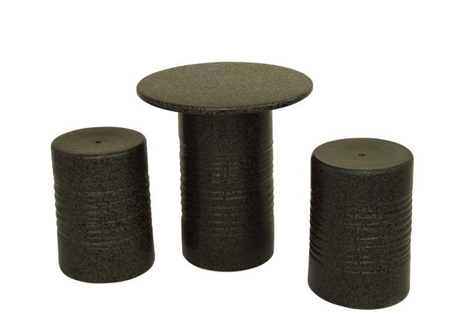 信楽焼 ガーデンテーブル 14号 黒スパタテーブルセット3点 陶器 テーブル彩り屋ただいま品切れ中。2020年6月中旬仕上がり予定