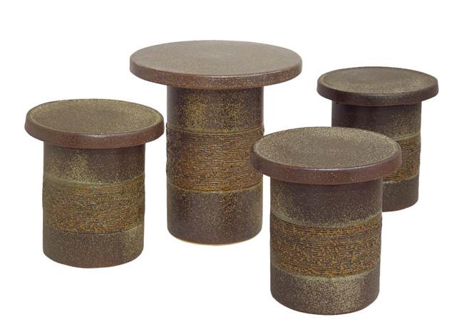 陶器 22号 テーブル 窯肌松皮テーブルセット5点 信楽焼 ガーデンテーブル 彩り屋 【全品10%OFFクーポン】