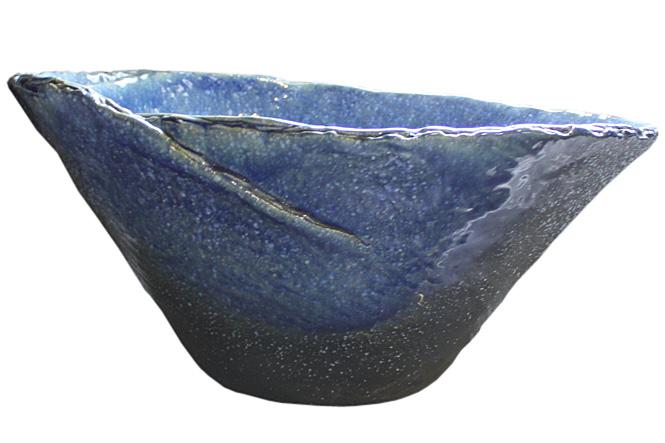 睡蓮鉢 メダカ鉢 青ガラスひねり水鉢20号 信楽焼 めだか鉢 水鉢 金魚鉢 ビオトープづくりに 水連鉢 すいれん鉢 彩り屋_