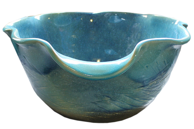 ブルーガラス花型水鉢17号 信楽焼 睡蓮鉢 めだか鉢 水鉢 金魚鉢 メダカ鉢 ビオトープづくりに 水連鉢 すいれん鉢 彩り屋_