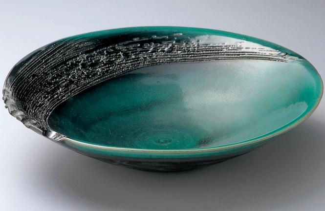 緑釉13.7皿鉢陶器 信楽焼 キッチン 和食器 大皿 彩り屋