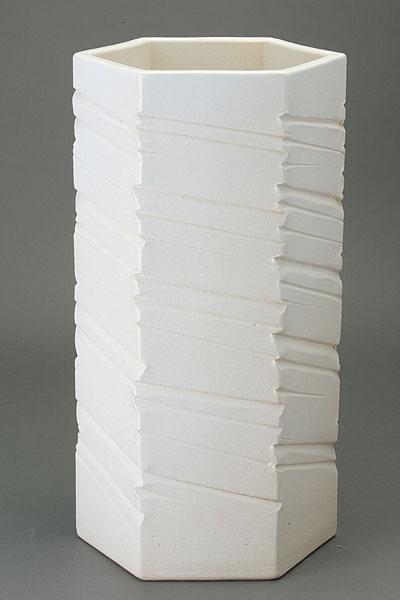 傘立て 陶器 信楽焼 ホワイトマットヘキサゴン 傘立