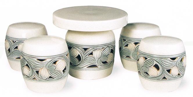 送料無料 信楽焼 陶器 テーブルセットカスミ唐草テーブルセット5点 20号ガーデンテーブルセット アウトドア彩り屋_