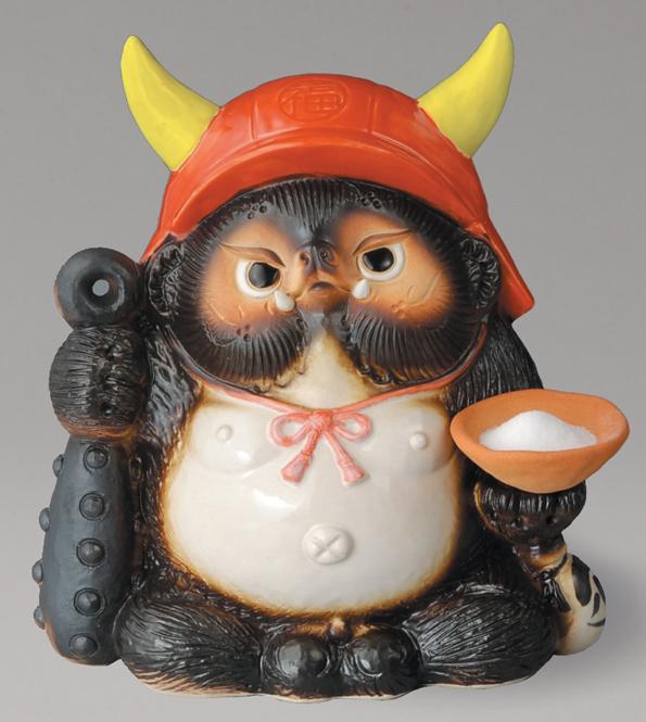 鬼門喜門狸 (赤) 福鬼喜門狸 信楽焼 たぬき 陶器 狸 置物 タヌキ彩り屋