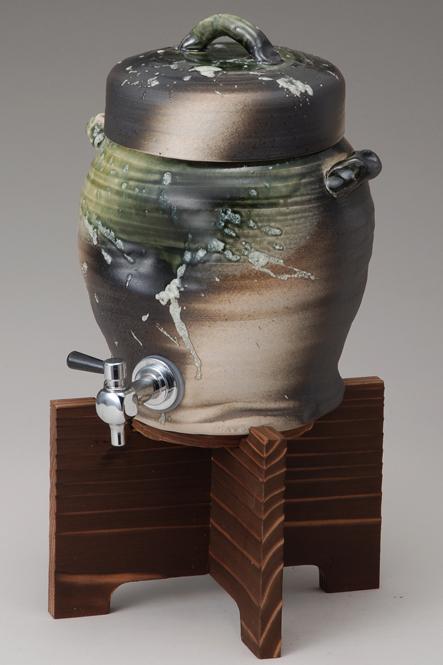 ビードロサーバー木の台付 陶器 信楽焼 焼酎サーバー 還暦祝い ギフト お祝い彩り屋