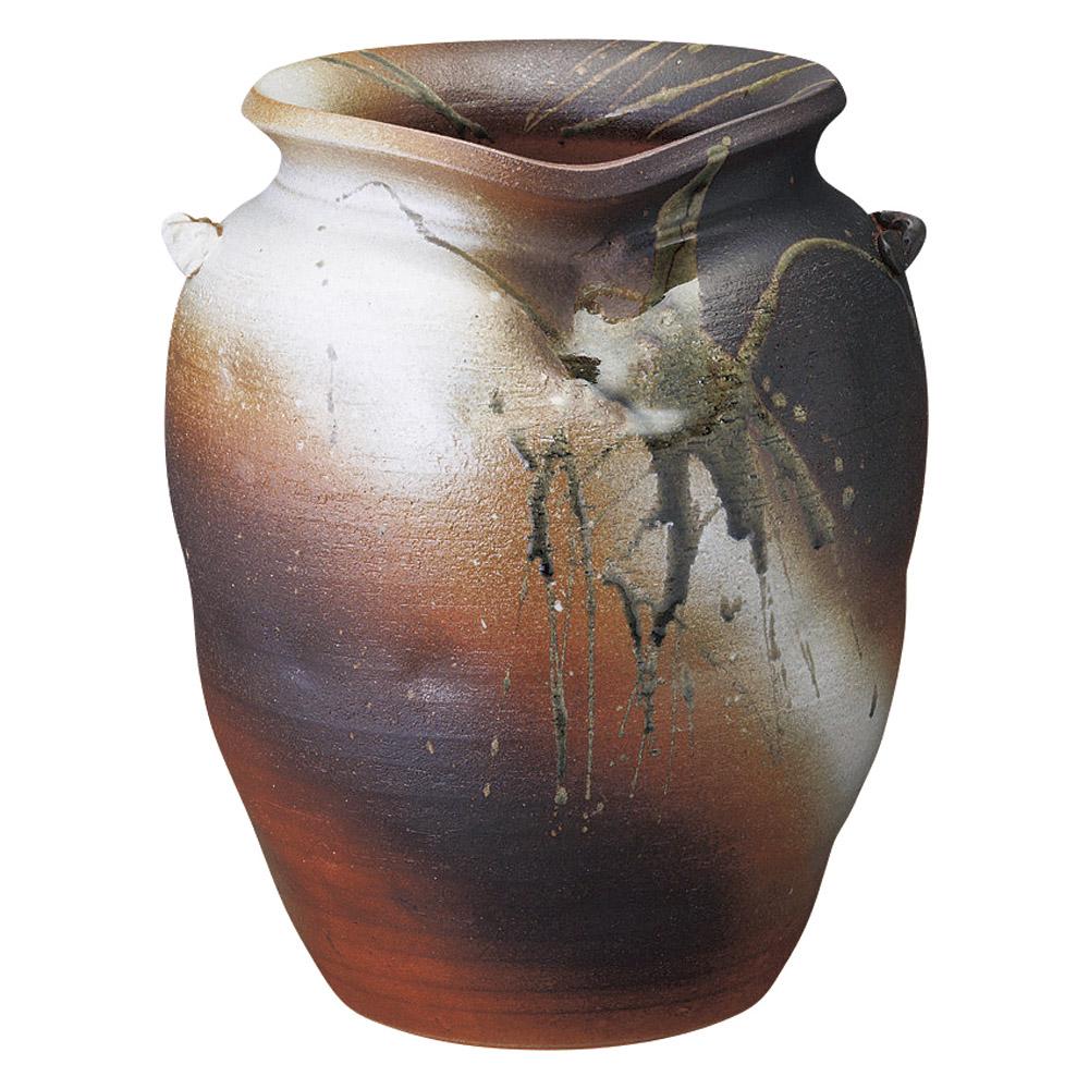 傘立て 陶器 火色 壷型耳付傘立 信楽焼