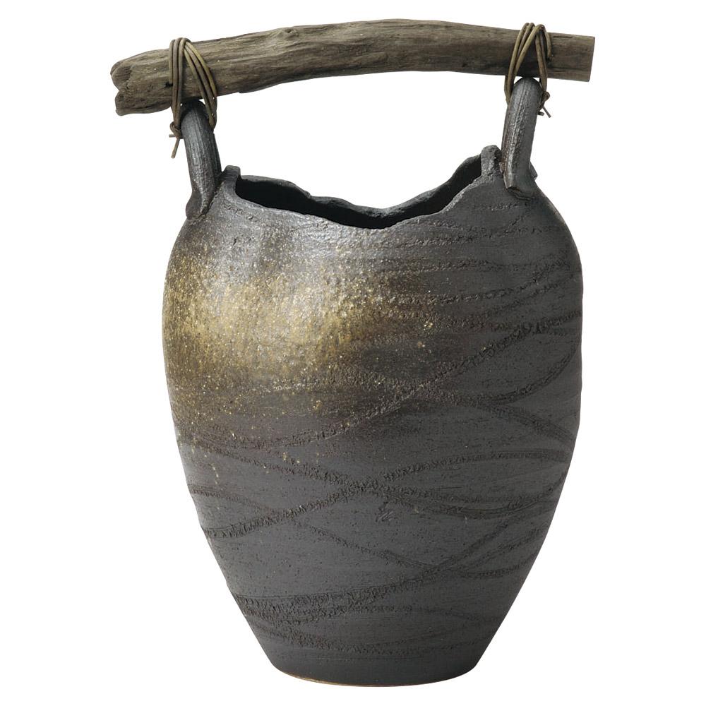 傘立て 陶器 壷型 流木 傘立 信楽焼