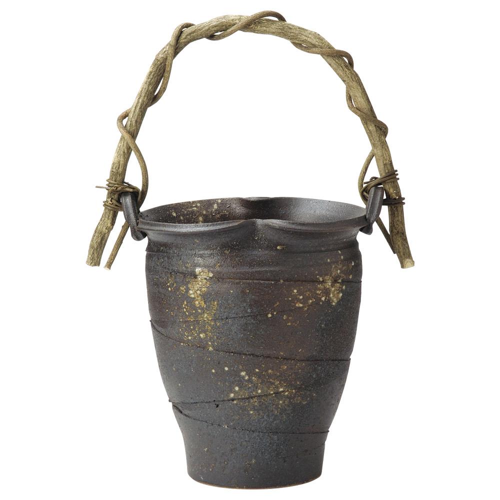 傘立て 陶器 手作り山づる傘立 信楽焼