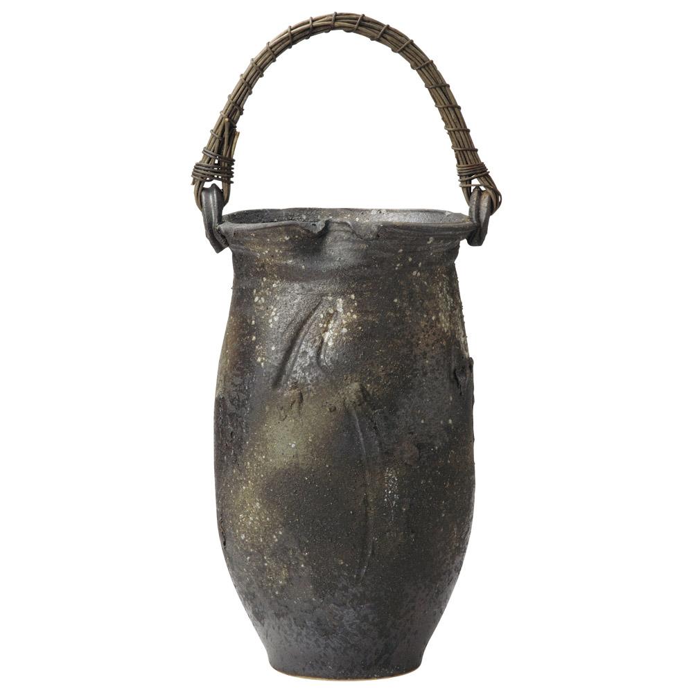 傘立て 陶器 コゲ釉ツル付傘立 信楽焼
