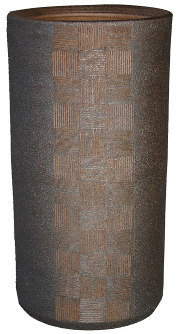 傘立て 陶器 信楽焼 市松彫 傘立 (ブラウン)