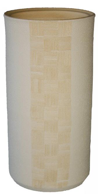 傘立て 陶器 信楽焼 市松彫 傘立 スリム (ベージュ)